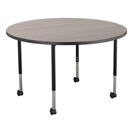 Structure Series Round Mobile Collaborative Table w/ Laminate Top - Cosmic Strandz Top w/ Charcoal Edge & Black Legs