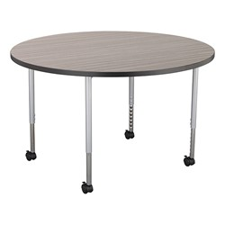 Structure Series Round Mobile Collaborative Table w/ Laminate Top - Cosmic Strandz Top w/ Charcoal Edge & Silver Mist Legs