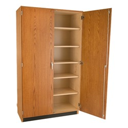 Tall Wood Storage Cabinet - Half open