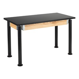 "Adjustable-Height Science Lab Table w/ Black Legs & Chemical Resistant Top (24"" W x 48\"" L)"