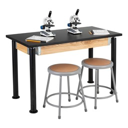 "Adjustable-Height Science Lab Table w/ Black Legs & Chemical Resistant Top (24"" W x 48"" L)"