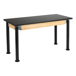 "Adjustable-Height Science Lab Table w/ Black Legs & Chemical Resistant Top (24"" W x 54\"" L)"
