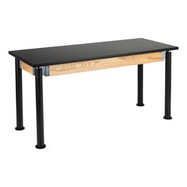 "Adjustable-Height Science Lab Table w/ Black Legs & Chemical Resistance Top (24"" W x 60\"" L)"