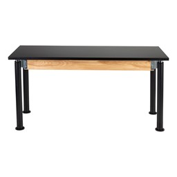 Adjustable-Height Science Lab Table w/ Chemical Resistant Top & Black Legs