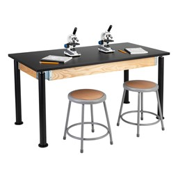 """Adjustable-Height Science Table w/ Black Legs & Chemical Resistant Top (30"""" W x 60"""" L)"""