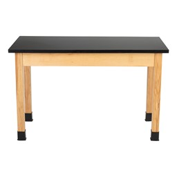"""Science Lab Table w/ Wood Legs & Chemical Resistance Top (24"""" W x 48"""" L)"""