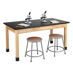 "Science Lab Table w/ Wood Legs & Chemical Resistance Top (30"" W x 60"" L)"