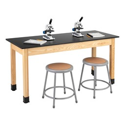 Science Lab Table w/ Phenolic Top & Wood Legs