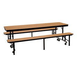 Mobile Convertible Bench Table w/ MDF Core & Protect Edge - Two Tables Shown