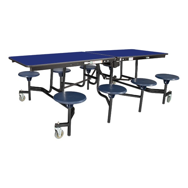 """Mobile Stool Cafeteria Table w/ Particleboard Core and Powder Coat Frame - 8 Stools (30"""" W x 8' L)"""