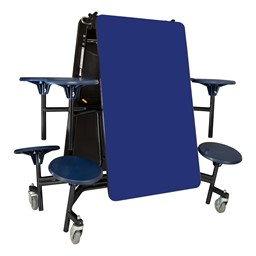 "Mobile Stool Cafeteria Table - 8 Stools (30"" W x 8' L) - Blue - Folded"