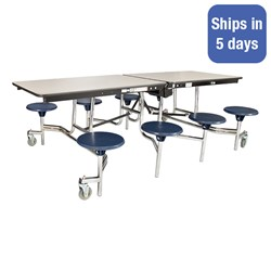 """Mobile Stool Cafeteria Table w/ Particleboard Core and Chrome Frame - 8 Stools (30"""" W x 8' L) - Quick Ship"""