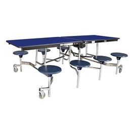 """Mobile Stool Cafeteria Table w/ Particleboard Core and Chrome Frame - 8 Stools (30\"""" W x 8\' L)"""