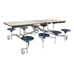 "Mobile Stool Cafeteria Table - 8 Stools (30"" W x 8' L) - Gray"