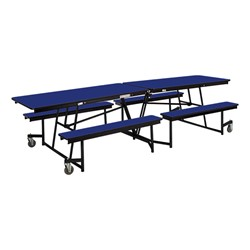 Mobile Bench Cafeteria Table w/ Particleboard Core and Powder Coat Frame (8' L)