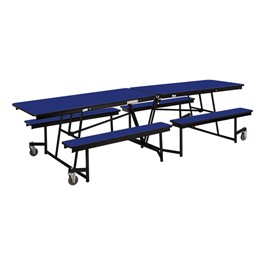 Mobile Bench Cafeteria Table w/ Particleboard Core and Powder Coat Frame (8\' L)