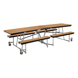 Mobile Bench Cafeteria Table w/ MDF Core & Protect Edge
