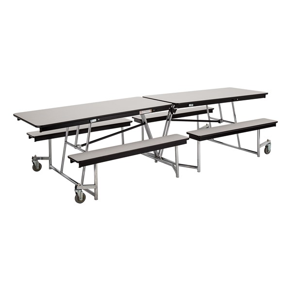 """Mobile Bench Cafeteria Table w/ Particleboard Core and Chrome Frame (30"""" W x 10' L)"""