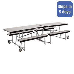 Mobile Bench Cafeteria Table w/ Particleboard Core - Quick Ship