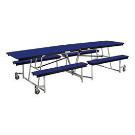 Mobile Bench Cafeteria Table w/ Particleboard Core