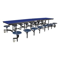 "Mobile Stool Cafeteria Table - 16 Stools (30"" W x 12' L) - Blue"