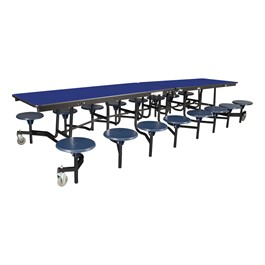 """Mobile Stool Cafeteria Table w/ Plywood Core & Powder Coat Frame - 16 Stools (30\"""" W x 12\'L x 27\"""" H) - Blue"""
