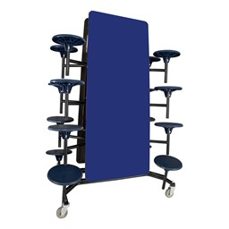 "Mobile Stool Cafeteria Table - 16 Stools (30"" W x 12' L) - Blue - Folded"