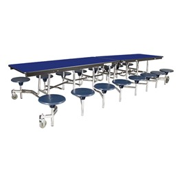 """Mobile Stool Cafeteria Table w/ Particleboard Core & Chrome Frame - 16 Stools (30\"""" W x 12\' L x 27\"""" H)"""