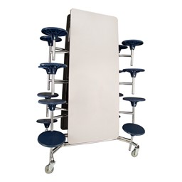 """Mobile Stool Cafeteria Table - 16 Stools (30"""" W x 12' L) - Gray - Folded"""