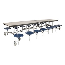 "Mobile Stool Cafeteria Table - 16 Stools (30"" W x 12' L) - Gray"