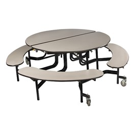 """Round Mobile Bench Cafeteria Table w/ Particleboard Core & Powder-Coat Frame (60\"""" Diameter) - Gray Nebula"""