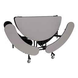 "Round Mobile Bench Lunchroom Table (60"" Diameter) - Gray - Folded"