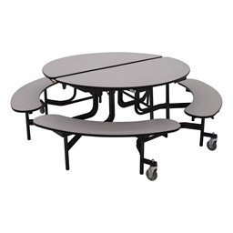 """Round Mobile Bench Lunchroom Table (60"""" Diameter) - Gray"""