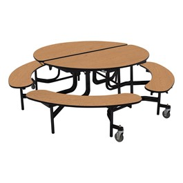 "Round Mobile Bench Cafeteria Table w/ Plywood Core, Protect Edge & Powder-Coat Frame (60"" Diameter) - Oak"