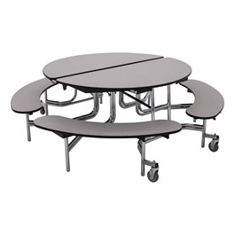 Round Mobile Bench Cafeteria Table w/ Particleboard Core - Gray Nebula