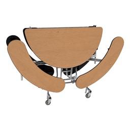"""Round Mobile Bench Lunchroom Table (60"""" Diameter) - Oak - Folded"""