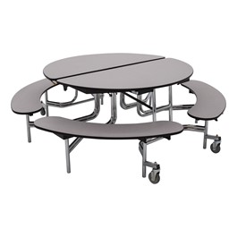 "Round Mobile Bench  Cafeteria Table w/ Plywood Core, Protect Edge & Chrome Frame  (60"" Diameter) - Gray"