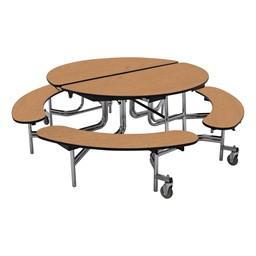"Round Mobile Bench Lunchroom Table (60"" Diameter) - Oak"