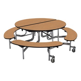 "Round Mobile Bench Lunchroom Table (60"" Diameter) - Oak"