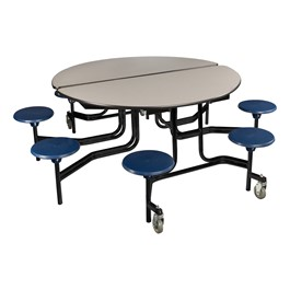 """Round Mobile Stool Cafeteria Table w/ Plywood Core & Powder-Coat Frame (60\"""" Diameter) - Gray w/ Navy Stools"""