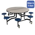 Round Mobile Stool Cafeteria Table w/ Particleboard Core - Quick Ship