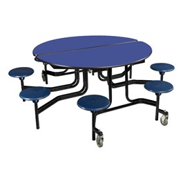 """Round Mobile Stool Cafeteria Table w/ Particleboard Core & Powder-Coat Frame (60\"""" Diameter)"""