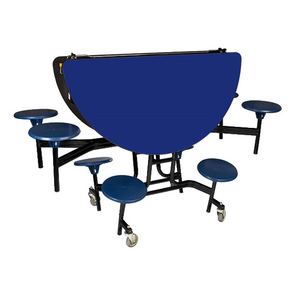 """Round Mobile Stool Cafeteria Table w/ Particleboard Core & Powder Coat Frame (60"""" Diameter) - Folded"""