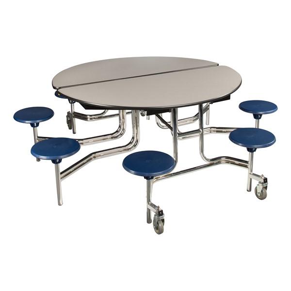 "Round Mobile Stool Cafeteria Table w/ Plywood Core & Chrome Frame (60"" Diameter) - Gray w/ Navy Stool"