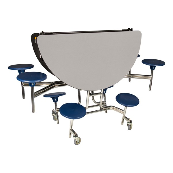 """Round Mobile Stool Cafeteria Table w/ Plywood Core & Chrome Frame (60"""" Diameter) - Gray w/ Navy Stools - Folded"""