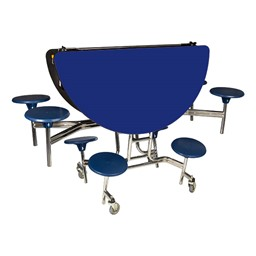 Round Mobile Stool Cafeteria Table w/ Particleboard Core - Folded