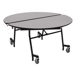 "Round Mobile Cafeteria Table w/ Particleboard Core and Powder Coat Frame (48"" Diameter) - Gray Nebula"