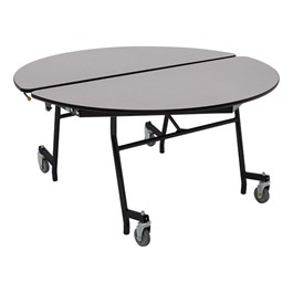 """Round Mobile Cafeteria Table w/ Particleboard Core and Powder Coat Frame (48\"""" Diameter) - Gray Nebula"""