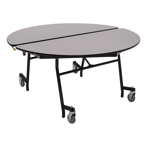 """Round Mobile Cafeteria Table w/ Particleboard Core and Powder Coat Frame (48"""" Diameter) - Gray Nebula"""