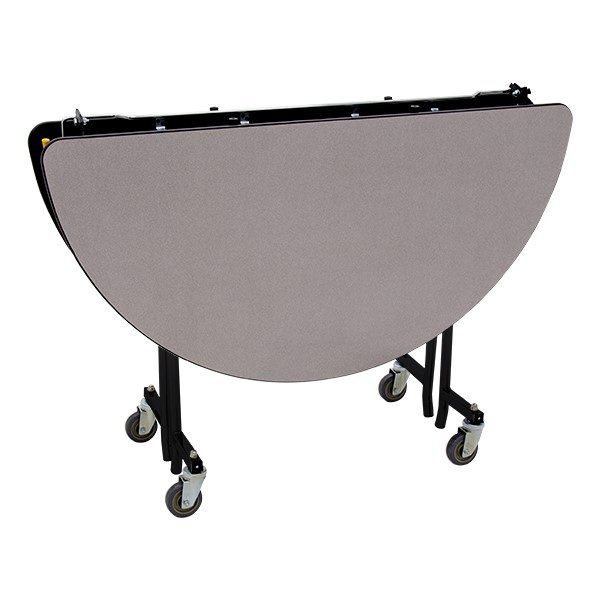 """Round Mobile Cafeteria Table w/ Particleboard Core and Powder Coat Frame (48"""" Diameter) - Gray Nebula (folded view)"""